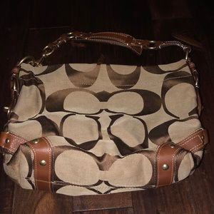 Brown and tan Coach leather and signature handbag